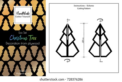 New Year gift set. Packaging design. Assembly instruction. Fir tree of plywood. Low poly