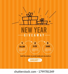 New year giveaway social media contest vector template.