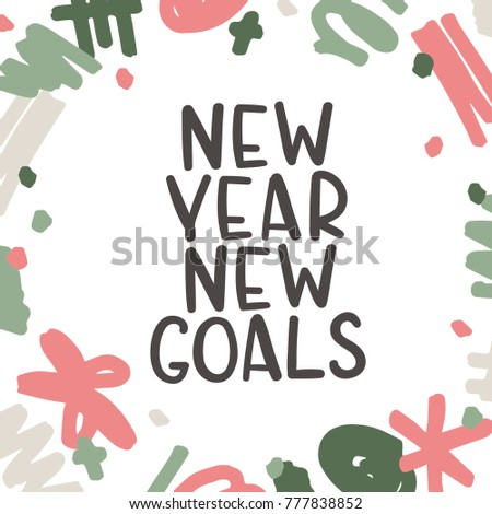 New Year New Goals Motivational Quote Stock Vector (Royalty Free ...