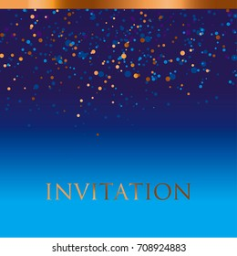 new year gold and blue star background. night absract decorative starspattern for invitatnio, banner, hesder, surface print and web design
