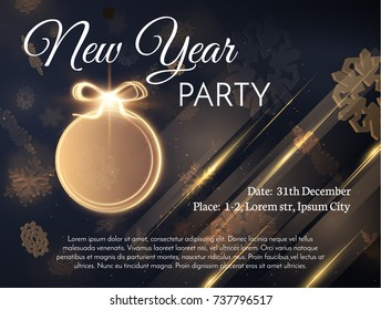 New year golden ball decoration holiday background. Vector EPS10.