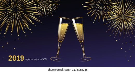 New Year golden fireworks and champagne glasses blue night sky vector illustration EPS10
