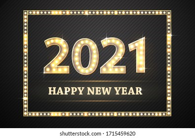 New Year golden numbers with lamp light. Retro design for poster or banner. Vector.