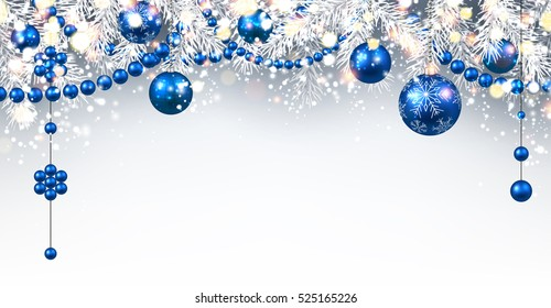 New Year gray background with blue Christmas balls. Vector illustration.