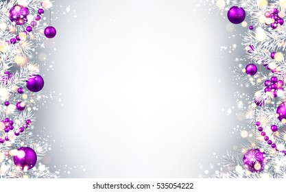 New Year gray background with purple Christmas balls. Vector illustration.