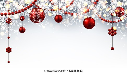 New Year gray background with red Christmas balls. Vector illustration.