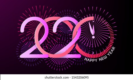 New Year Greeting Card. Christmas. Bright neon colors. Happy New Year 2020 inscription. Abstract clock, explosions of fireworks and salute. Infinity symbol and loading scale. Vector. Dark background.
