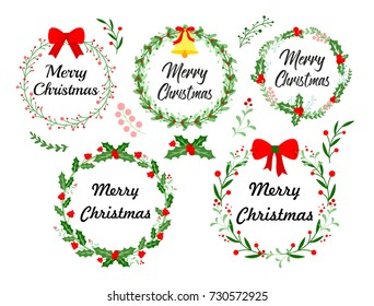 New Year greeting card. Christmas wreath set with winter floral elements. Vector illustration in flat style on white background.