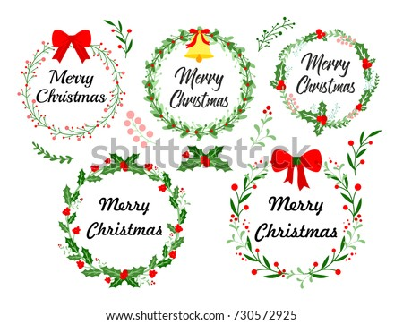 New Year Greeting Card Christmas Wreath Stock Vector (Royalty Free ...