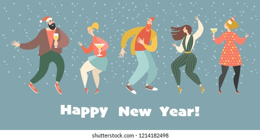 New year greeting card with dancing girls and boys. Happy boy and girl celebrate the coming of the new year together