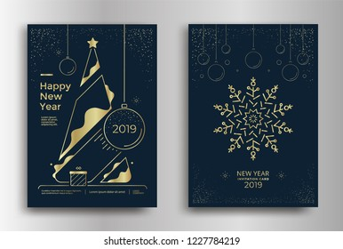 new year greeting card design with stylized christmas tree snowflakes and decorations vector golden