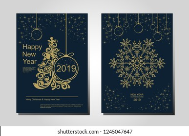 New Year greeting card design with stylized Christmas tree, snowflakes and decorations. Vector golden line illustration template.