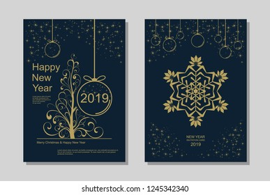New Year greeting card design with stylized Christmas tree, snowflakes and decorations. Vector golden line template illustration