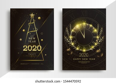 New Year greeting card design with stylized Christmas tree, clock and gold decorations. Merry Christmas vector golden line illustration for invitation flyer.
