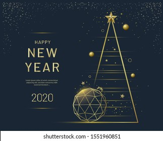 New Year greeting card design with stylized Christmas tree, ball and decorations. Vector golden line illustration