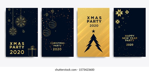 New Year greeting card design with stylized christmas and tree christmas ball.snowflakes, decorations. vector illustration of happy new year 2020 gold