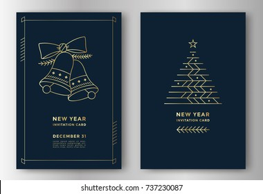 New Year greeting card design with stylized christmas tree and bells. Vector illustration