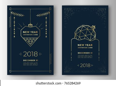 New Year greeting card design with stylized christmas ball and decorations. Vector illustration