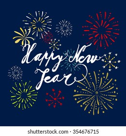 new year greeting card with a firework vector illustration