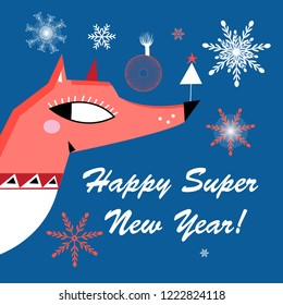 New Year greeting card with a fox on a blue background with snowflakes