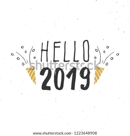 new year greeting card hello 2019 typographic greetings design calligraphy lettering for holiday
