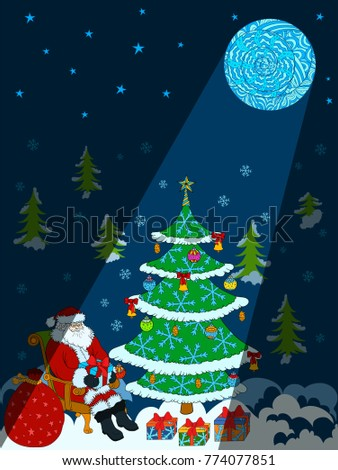 New year greeting card santa claus stock vector royalty free new year greeting card with santa claus christmas tree and doodle moon moonlight at m4hsunfo