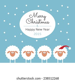 new year greeting card with sheep in christmas hat