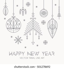 New Year greeting card template with hanging decorations and snowflakes. Creative tribal line style design elements. Minimalistic outlined winter holidays graphics. Monochrome