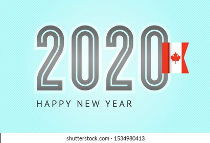 New Year greeting card trendy design, number 2020 with flag of Canada, vector illustration 10eps format on a blue background.