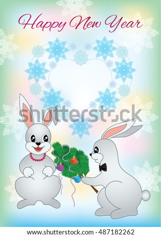 new year greeting card with a two lovers rabbit christmas card with nice cartoon character