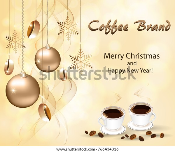 Coffee Christmas Cards.New Year Greeting Cards Coffee Shops Stock Vector Royalty