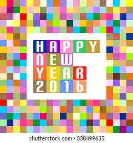 new year greetings for 2016 of colored squares in a row with the words happy new