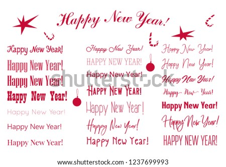 new year greetings are depicted in different fonts christmas decorations sweets toys