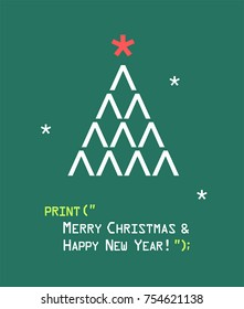 New Year icon emoticon with a Christmas tree. Text: Happy Christmas and Happy New Year!
