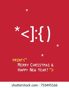New Year icon Emoticon with Santa Claus face. Text: Merry Christmas and Happy New Year!