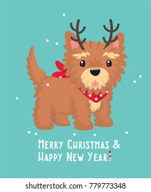 New Year Icon Yorkshire Terrier dog. Puppy with reindeer antlers. Text: Merry Christmas and a Happy New Year!