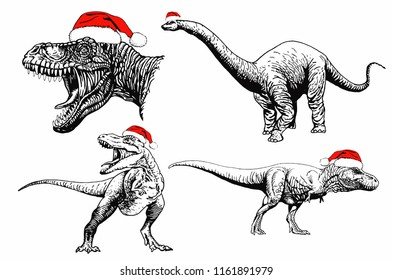 New year illustration, graphical dinosaur in Santa Claus hat  isolated on white background,vector sketch