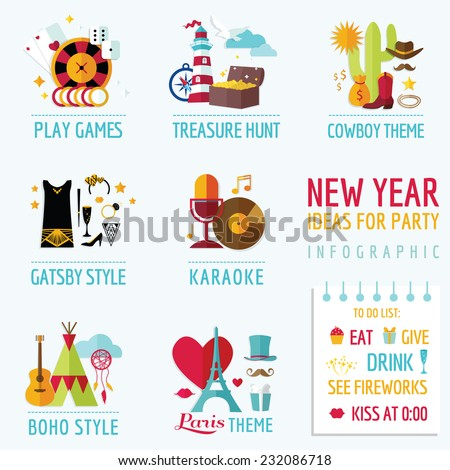 new year infographic party ideas and themes in vector