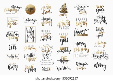 New Year. lettering for the poster and greeting cards. Merry Christmas. Calligraphy Xmas holiday. Text design element