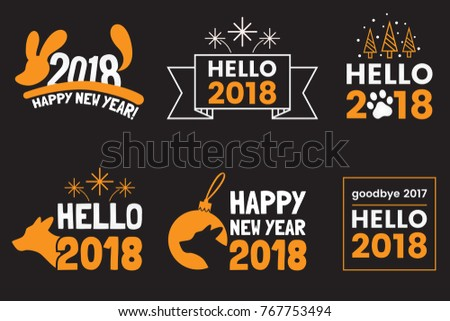 New Year Logo Signs Badges Labels Stock Vector (Royalty Free ...