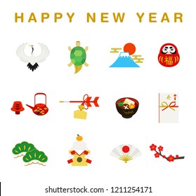 New Year lucky charm illustrations set