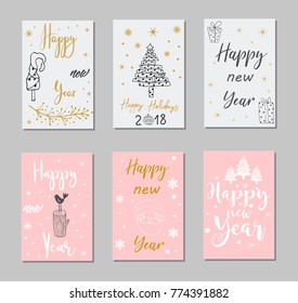New Year and Merry Christmas decoration set.Typography set.The main symbols of the holiday. Vector logo, emblems, text design. Usable for banners, greeting cards, gifts etc.
