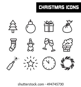 New year and merry christmas icons vector illustration.