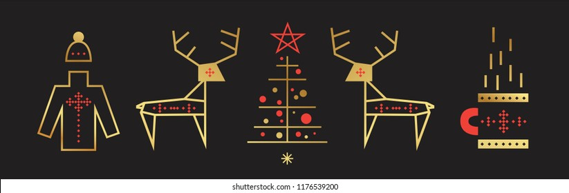 New year and Merry Christmas Set. Christmas symbols in  line art style, reindeer, sweater, mug of hot drink, a Christmas tree. For poster, invitation, card, banner. Vector illustration