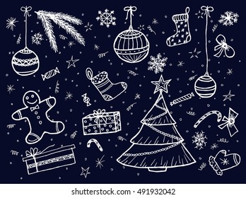 New year and Merry Christmas set on black background. Free hand drawn. Vector illustration.