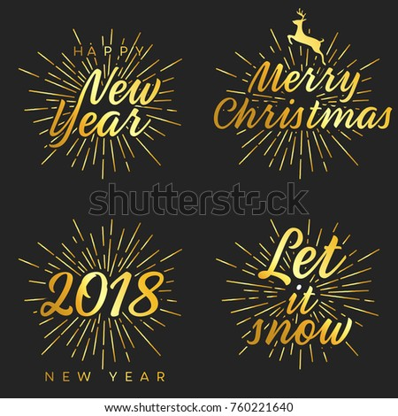 New Year Merry Christmas Signs Burst Stock Vector (Royalty Free ...