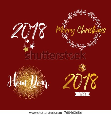 New Year Merry Christmas Signs Golden Stock Vector Royalty Free