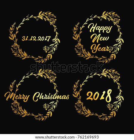 New Year Merry Christmas Signs Golden Stock Vector (Royalty Free ...