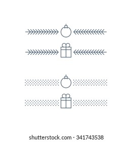New Year minimalist text separator, Christmas theme linear border. Xmas decoration icons vector