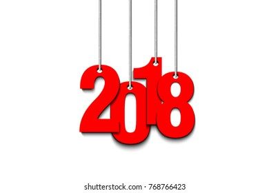 New Year numbers 2018 from bow on strings. Vector illustration